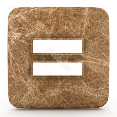 Marble equal sign, on a white isolated background.