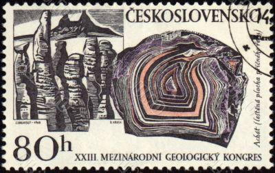 Mountains and minerals on post stamp