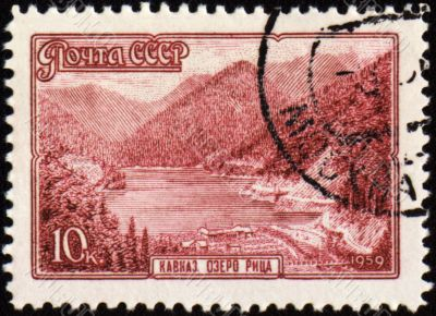 Lake Riza in Caucasus on post stamp