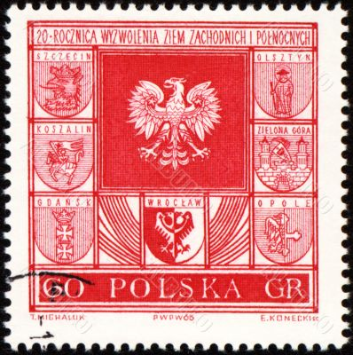 Arms of cities in Poland on post stamp