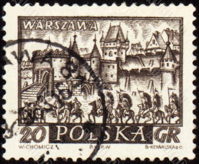 Medieval town of Warsaw on post stamp