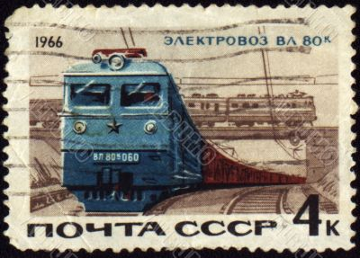 Post stamp with russian electric locomotive VL-60k