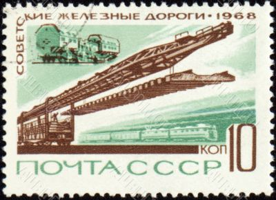 Rail road construction on post stamp