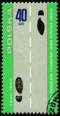 Rules of the road on post stamp