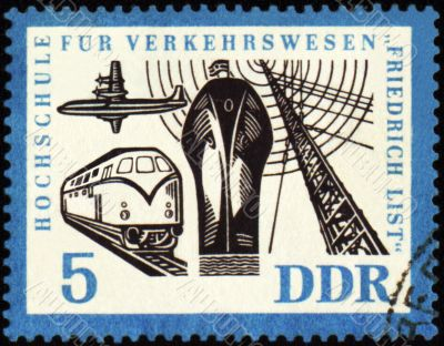 Ship, airplane, train and radio-mast on post stamp
