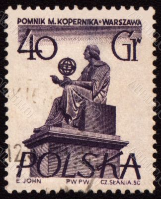 Polish astronomer Mikolas Kopernik on post stamp