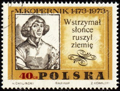 Nicolaus Copernicus, great polish astronomer on post stamp