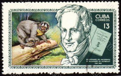Alexander von Humboldt and monkey on post stamp