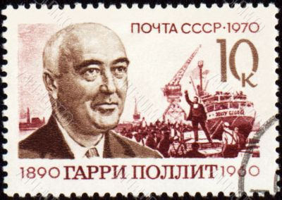 Portrait of Harry Pollitt on postage stamp