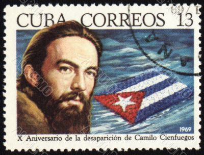 Camilo Cienfuegos on post stamp