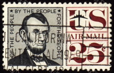 USA president Abraham Lincoln on postage stamp