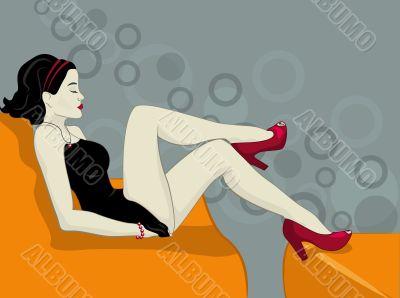 girl in black vector illustration