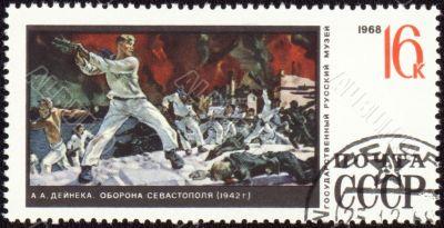 Picture `Defence of Sevastopol` by Deyneka on post stamp