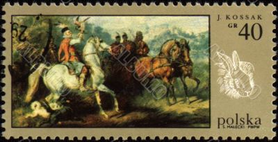 Canvas of Polish artist J.Kossak on post stamp