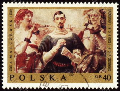 Canvas of Polish artist Jacek Malczewski (1854-1929) on post stamp