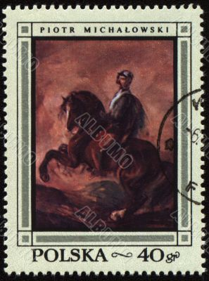 Canvas of Polish artist Piotr Michalowski on post stamp