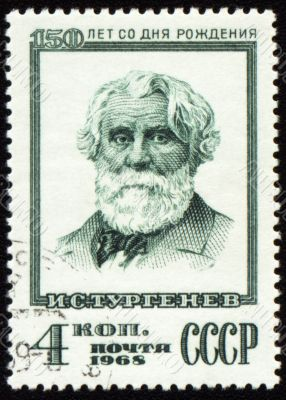 Russian writer Ivan Turgenev on postage stamp