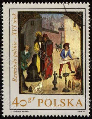 Cottage industry in medieval town on post stamp