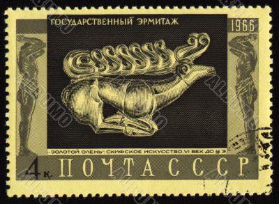 Image of golden deer on post stamp