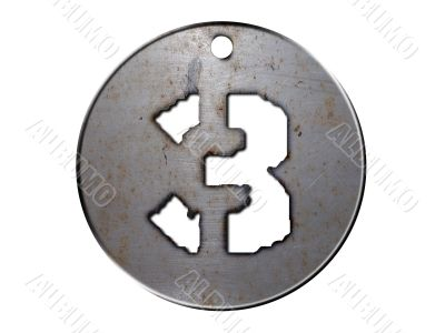 3d metal disc three number