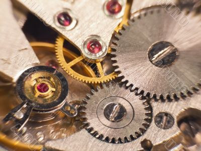 Macro photo of the mechanism of a watch