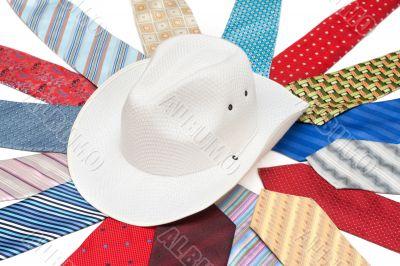 White hat on tie