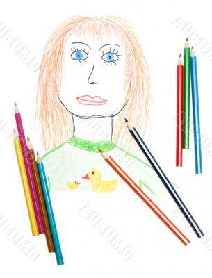Portrait of the woman, pencil