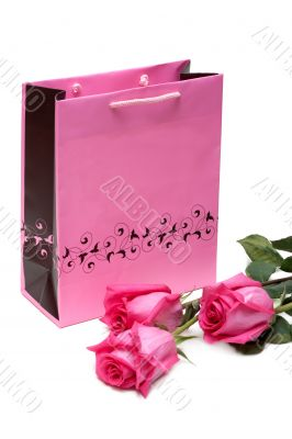 Rose gift package and three roses
