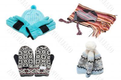 Gloves, mittens scarf and nodding