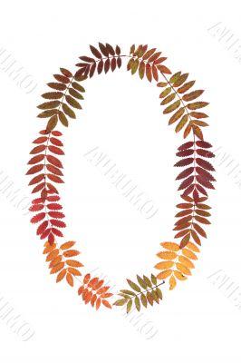 Numeral zero 0 put from autumn sheet