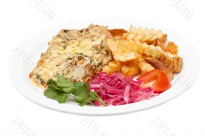 Fried meat in melted cheese and potatoes