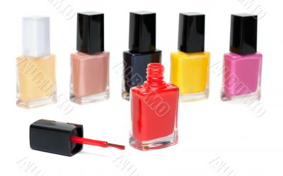 Varicoloured varnish for nail, open red vial