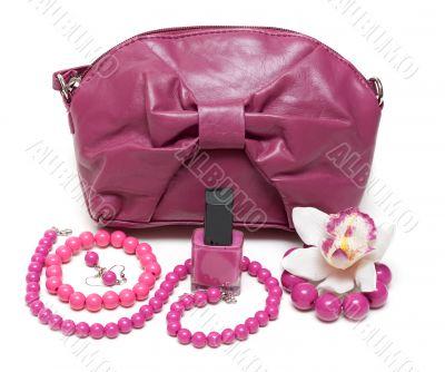 Violet feminine bag, necklace