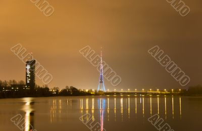 Riga Latvia night city