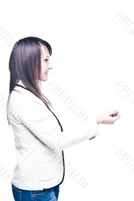 Young business woman with a business card