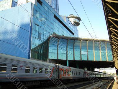 Landscape with modern railway station