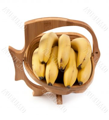 Wooden vase with ligament banana