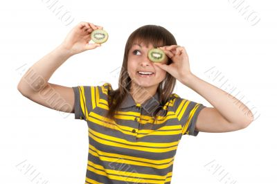 Girl in striped cloth and kiwi instead of eye