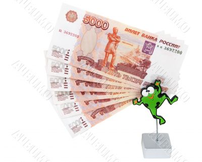 Bills 5000 roubles in stand in the manner of frogs