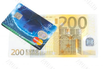 Bill 200 euro and plastic bank card