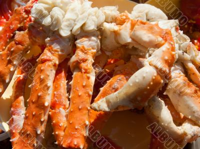 Boiled paws of the crab