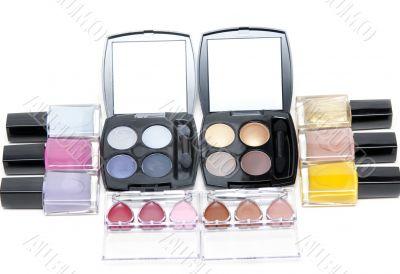 Set of the make-up, varnish for nail