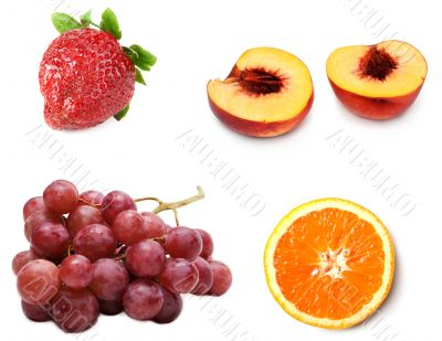 Collage from fresh ripe fruit grape, peach, strawberries and ora