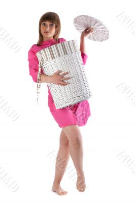 Girl with basket for linen