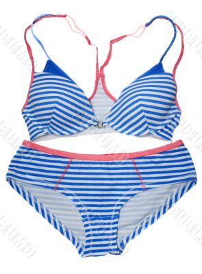 Striped swimsuit with blue line