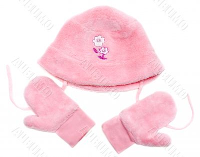 Rose baby set from hat and mittens
