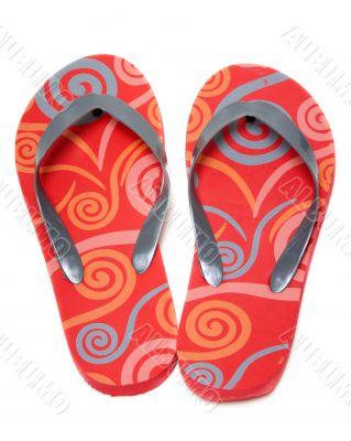 Red beach footwear
