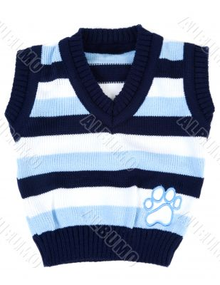 Baby sweater striped with blue strip