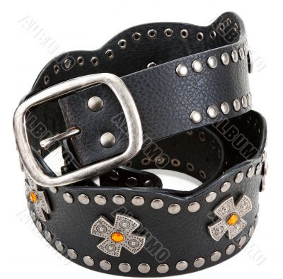 Black leather belt with yellow stone and steel buckle