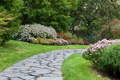 Stone lane in autumn park